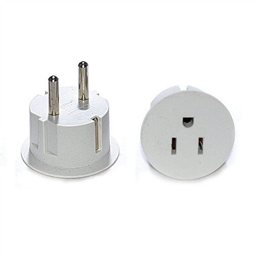 OREI American USA To European Schuko Germany Plug Adapter (2 Packs)