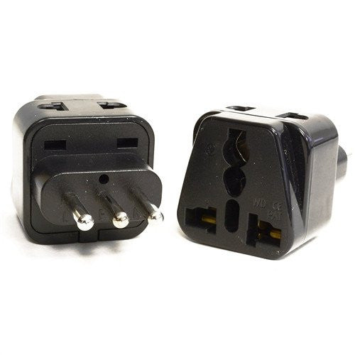 Type L - OREI Grounded 2 In 1 Plug Adapter (2 Pack) - Italy, Uruguay