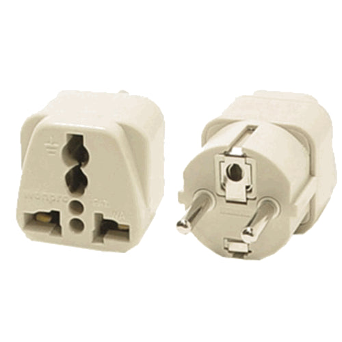 Universal Grounded Shucko Travel Plug Adapter for Germany France