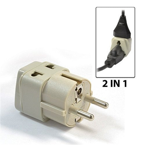 Type E/F Schuko - OREI Grounded 2 In 1 Plug Adapter - Germany, France, Europe