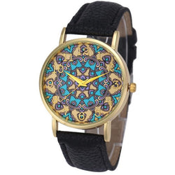 Tribal Flower Pattern Analog Quartz Faux Leather Casual Watches - Levi Emmanuel