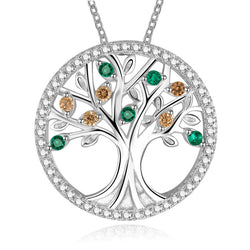 Tree Of Life 925 Sterling Silver Emerald Morganite Pendant Necklace - Levi Emmanuel