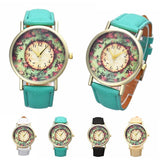 Floral Printed Leather Analog Quartz Wrist Watch - Levi Emmanuel