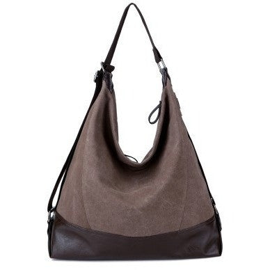 High Quality Large Capacity Single Shoulder Canvas Leather Handbag - Levi Emmanuel