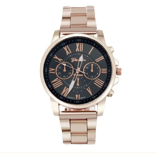 Elegant Stylish Fashion Roman Numberals Stainless Steel Band Unisex Watch - Levi Emmanuel