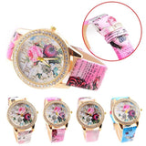 Luxury Fashion Flower Colored Diamond PU Leather Watch - Levi Emmanuel