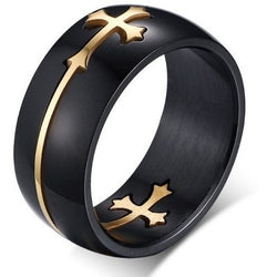 Rings - Emmanuel Ring Black Color Stainless Steel Cool Design Cross Rings Jesus Jewelry