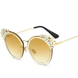 Sunglasses - Fashion Flower Crystal Dimond Frame Women Cat Eye Sunglasses