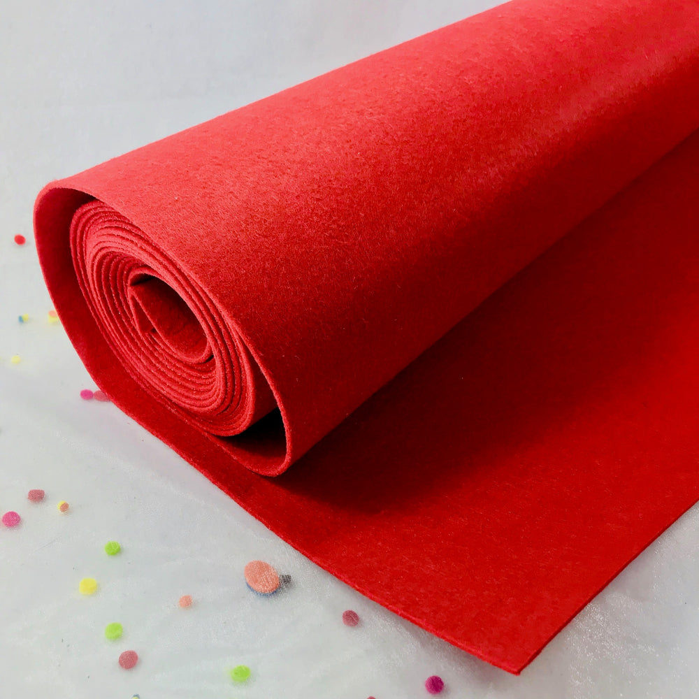 3mm Thick Felt by the Yard - Red Mid Weight Felt - 100% Polyester Non Woven Fabric
