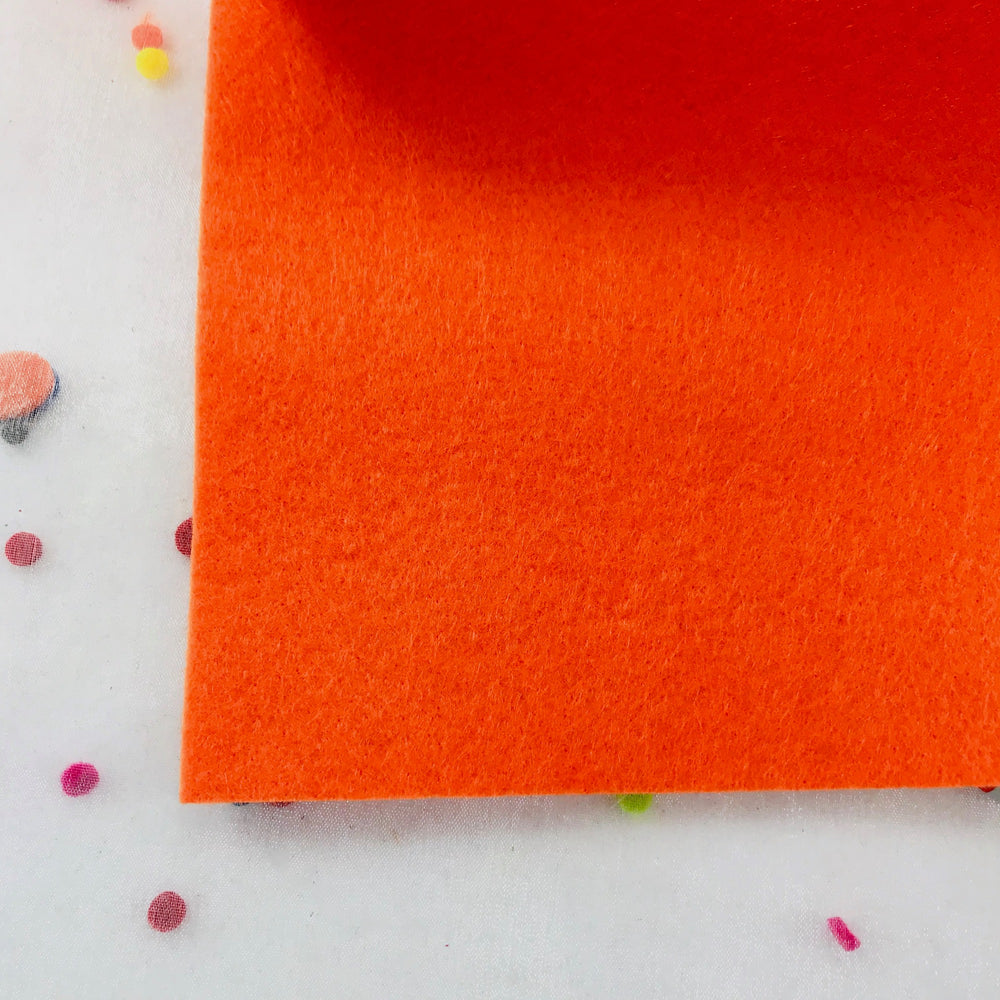 3mm Thick Felt by the Yard - ORANGE Mid Weight Felt - 100% Polyester Non Woven Fabric