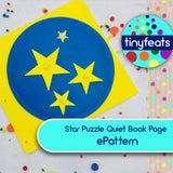 ePattern - Star Puzzle Quiet Book Page Sewing Pattern Pattern