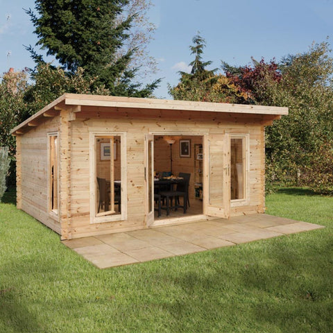 "Garden Log Cabin 44mm Log Cabin 17ft x 13ft 1"" (5.2 x 4.0m) Cabins Wood Chalet"