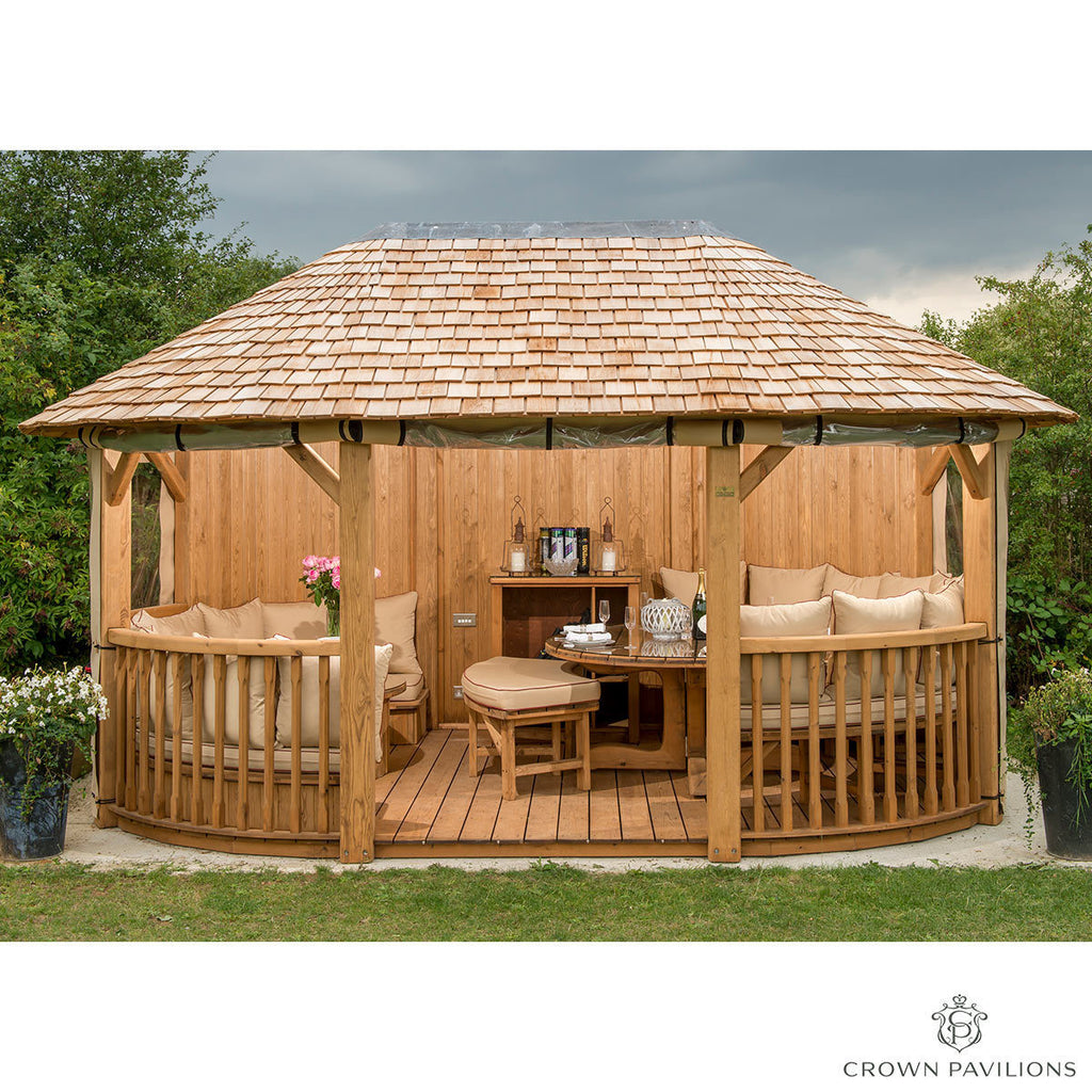 "Oval Gazebo Windsor 16' 4"" x 10' 9"" Redwood + Dining Set for 8 & Lounge Set For 4"