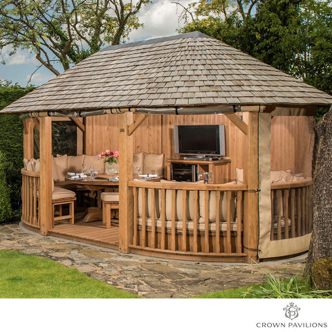 "Oval Gazebo 19' 2"" x 13' 8"" (5.86 x 4.21m) European Redwood + Lounge Set for 6"