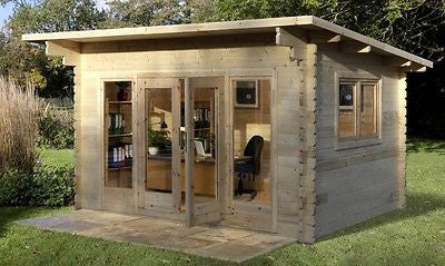 Garden Log Cabin Forest Melbury 4x3m Kit Cabins Weatherproof Wood  Shed Outhouse