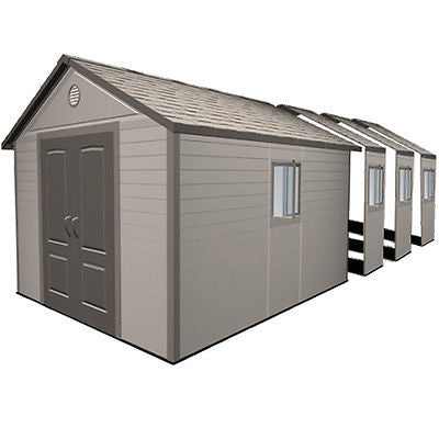 Garden Storage Sheds 11'x26' Heavy Duty Windows Floor Plastic Lifetime Shed