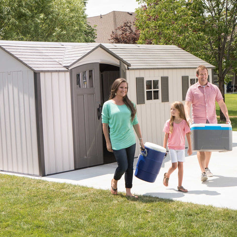 Garden Storage Shed Lifetime 17.5'x8' New Edition Single Entrance Heavy Duty Plastic Sheds