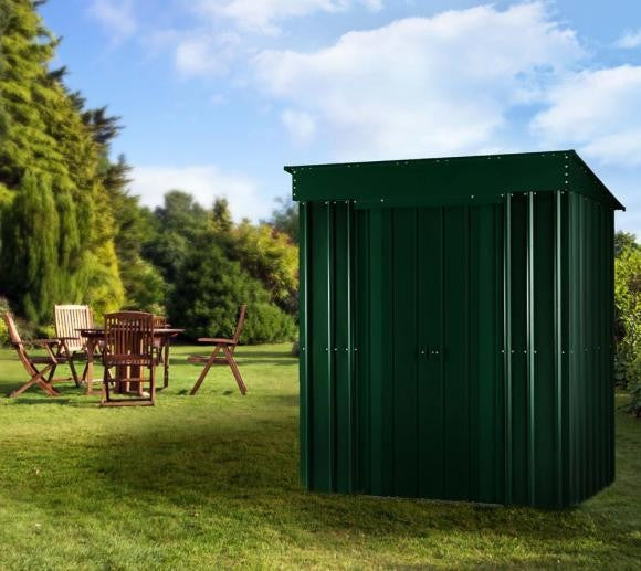 Metal Shed Lotus 6'x4' Pent Solid Green Steel Storage Patio Sheds Garden
