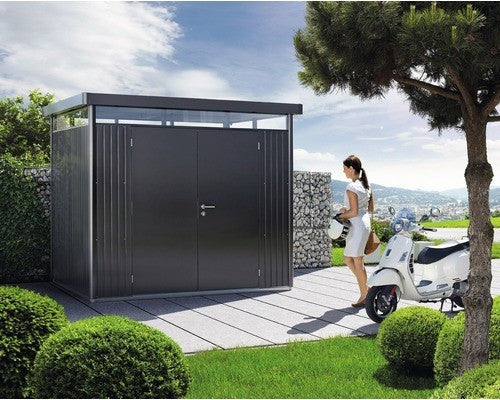 Metal Shed Biohort Heavy Duty H3 Double Door Metallic Grey Silver & Dark Grey