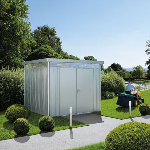 Metal Shed Biohort Heavy Duty Highline H4 Double Door Metallic Grey Silver & Dark Grey