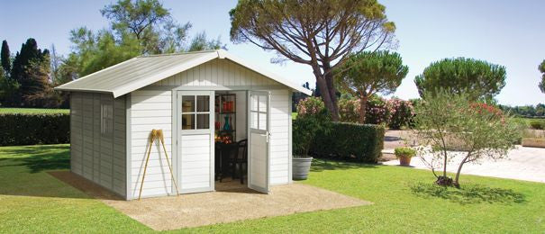 High Quality Garden Cabin Grosfillex Deco 11 PVC 3.7 X 4.07m Garden Shed Sheds