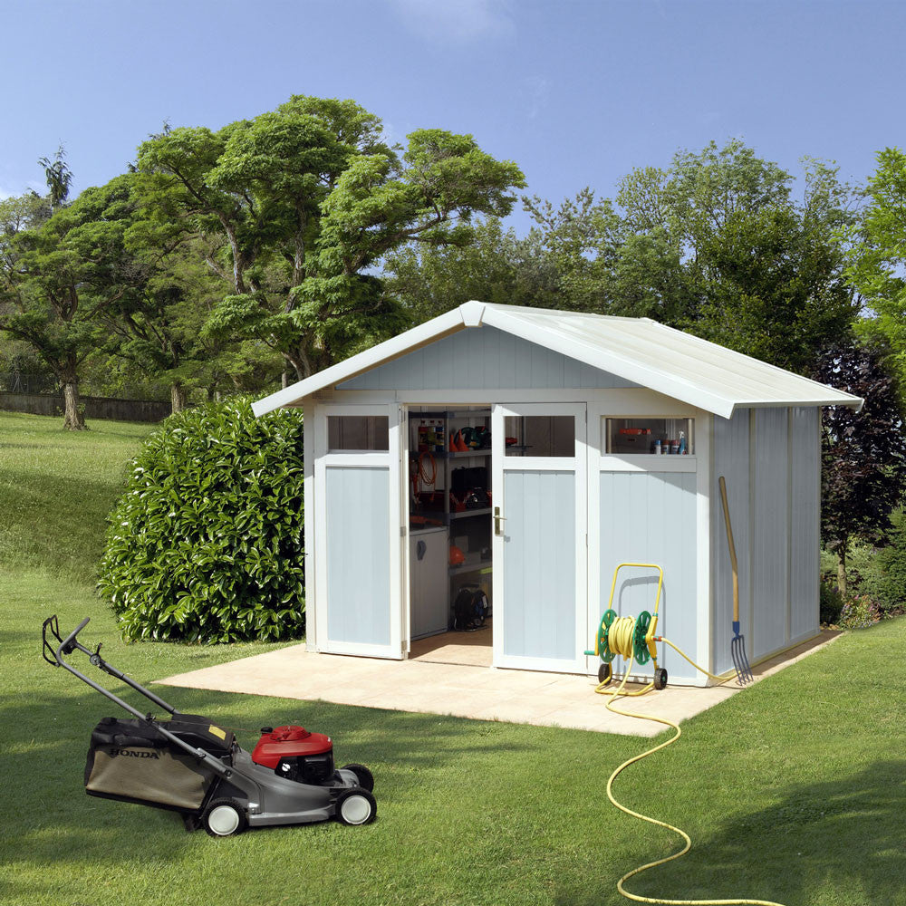 """Garden Sheds 9 X 7 garden shed grosfillex utility 10' 2"""" x 7' 9"""" in blue or green"""