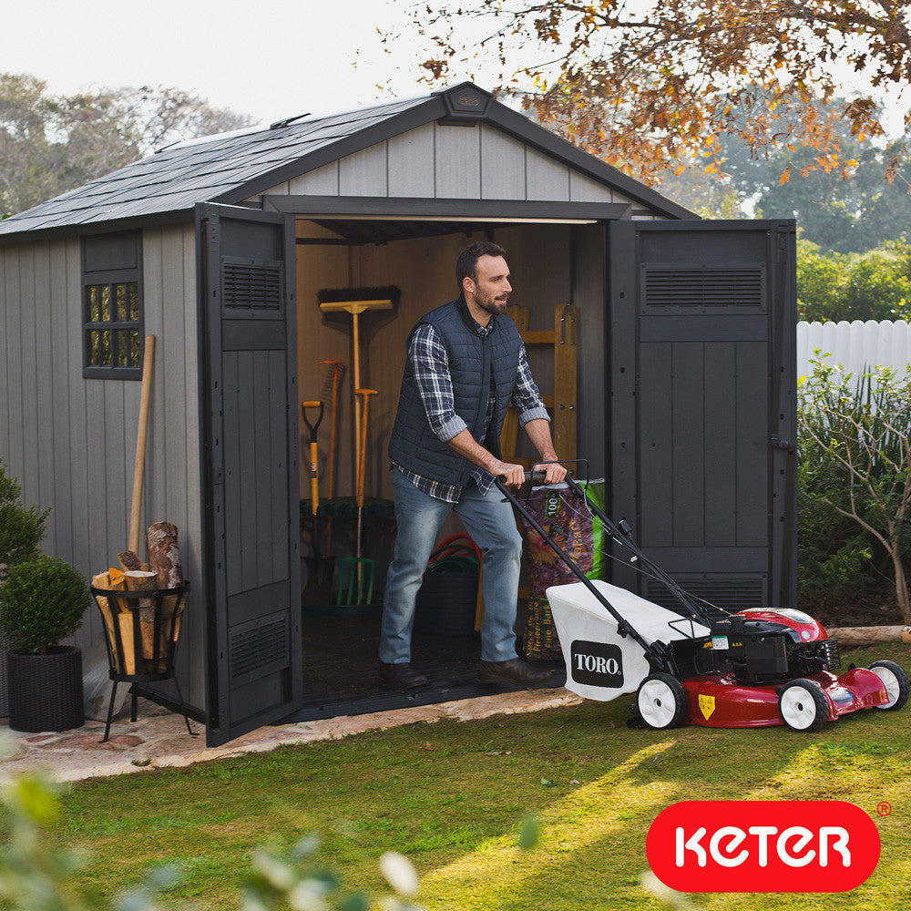 garden shed keter oakland 7 6 x 9 4 plastic storage patio strong sheds