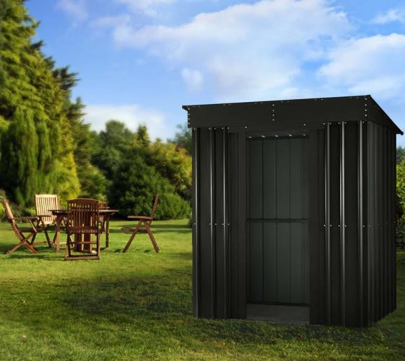 Metal Shed Lotus 6'x4' Pent Anthracite Grey Steel Storage Building Sheds Garden