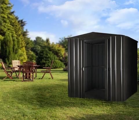 Metal Shed Lotus 6'x4' Apex Anthracite Grey & Cream Building Storage Steel Sheds