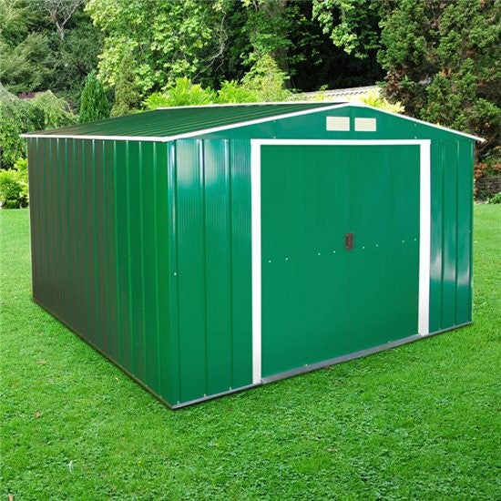 Metal Shed Sapphire 10'x10' Apex Green Steel Storage Sheds Patio