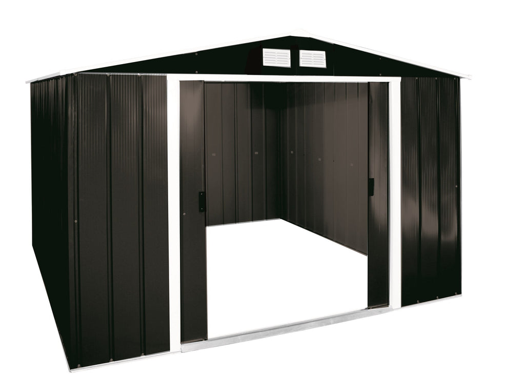 Metal Shed Sapphire 10'x10' Apex Anthracite Steel Storage Sheds Patio