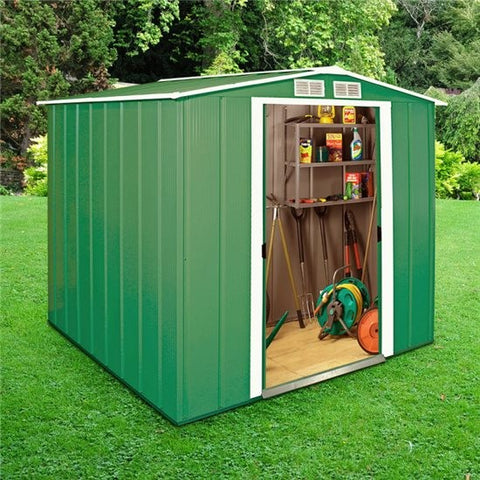 Metal Shed Sapphire 6'x6' Apex In Green Steel Storage Sheds Patio