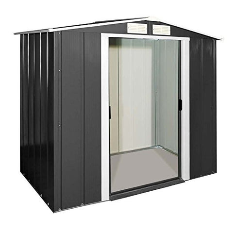 Metal Shed Sapphire 6'x6' Apex In Anthracite Steel Storage Sheds Patio