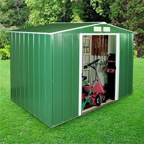 Metal Shed Sapphire 8'x6' Apex In Green Steel Storage Sheds Patio