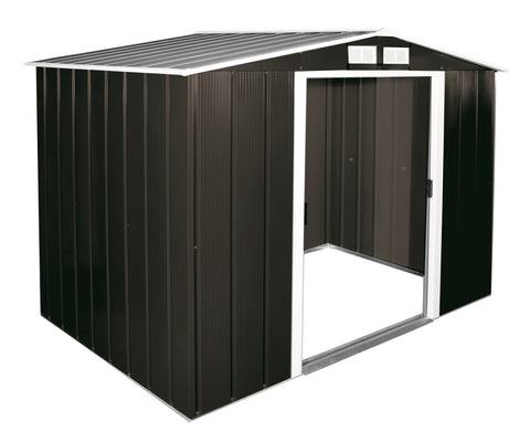 Metal Shed Sapphire 8'x6' Apex In Anthracite Steel Storage Sheds Patio