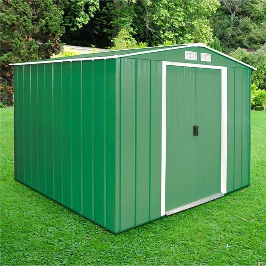 Metal Shed Sapphire 8'x8' Apex In Green Steel Storage Sheds Patio