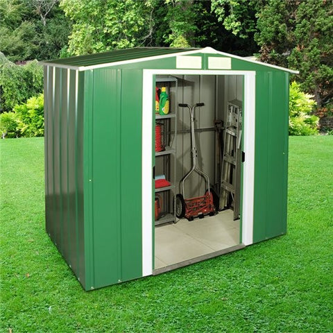 Metal Shed Sapphire 6'x4' Apex In Green Steel Storage Sheds Patio