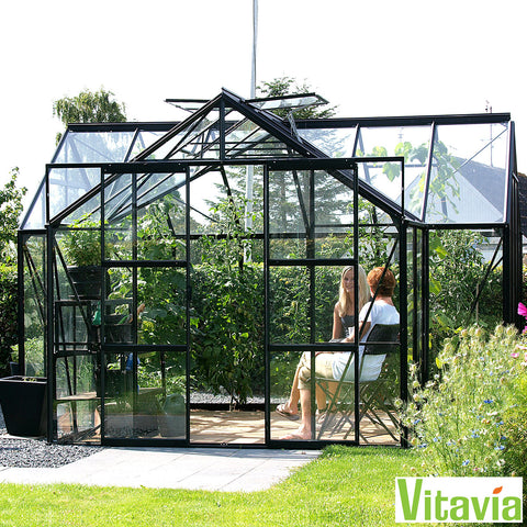 Installed Greenhouse Solarium Vitavia Nevada 13000 12.6' X 12.6' Glass Vents Aluminium