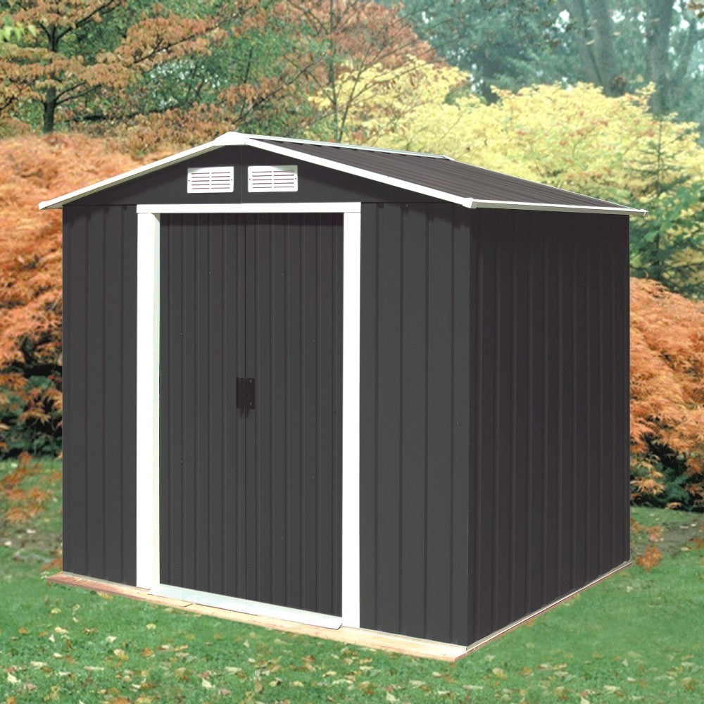 Metal Shed Parkdale 6'x4' Apex Sheds Anthracite Galvanised Steel Strong