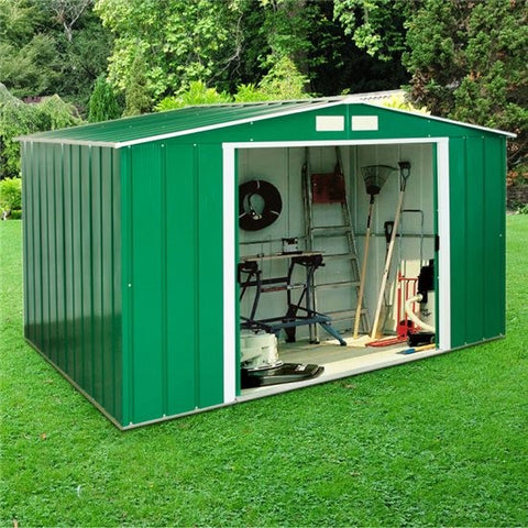 Metal Shed Sapphire 10'x8' Apex In Green Steel Storage Sheds Patio