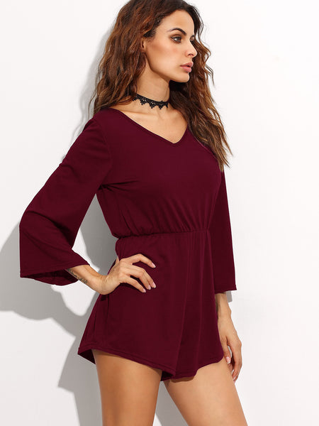 Low V Back Self Tie Fringe Romper