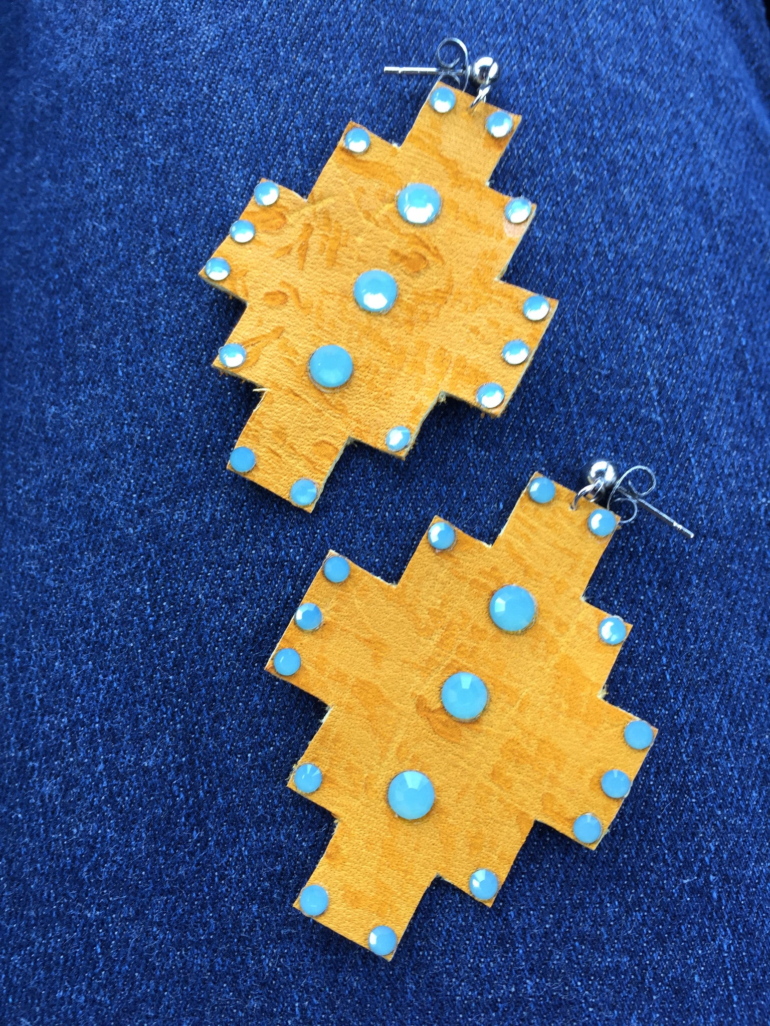 Aztec Design Leather Earrings: Burnt Yellow with SWAROVSKI Stones