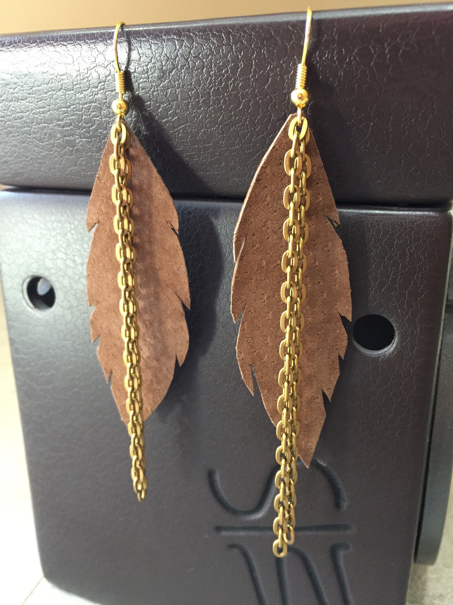 Leather Feather Earrings with Double Chain