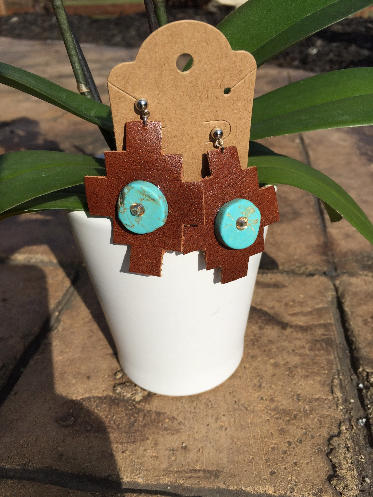 Large Western Leather and Turquoise Aztec Design Earrings