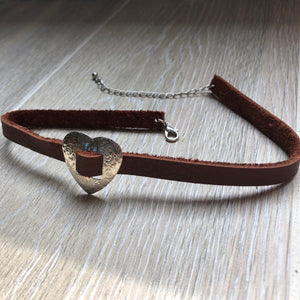 Heart Concho Leather Choker