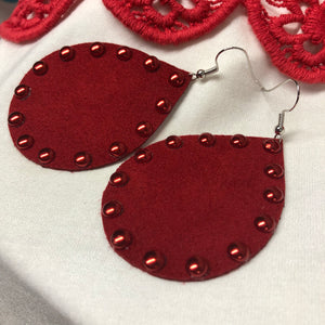 Studded Ruby Red Chubbies - Ultrasuede Earrings