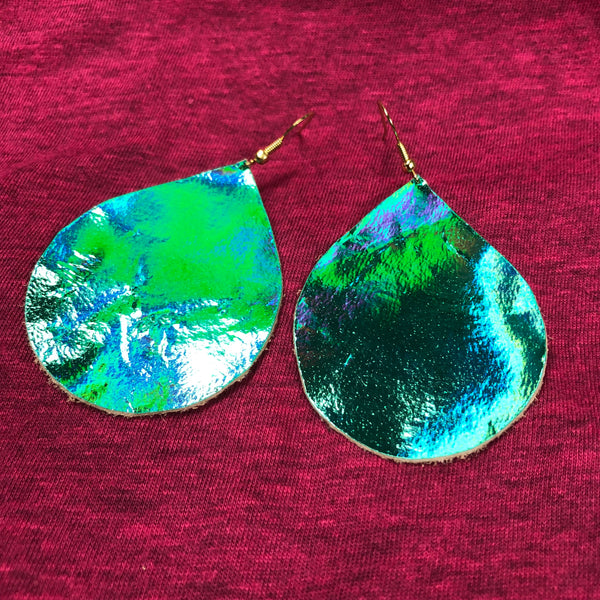 Holographic Chubbies Leather Earrings