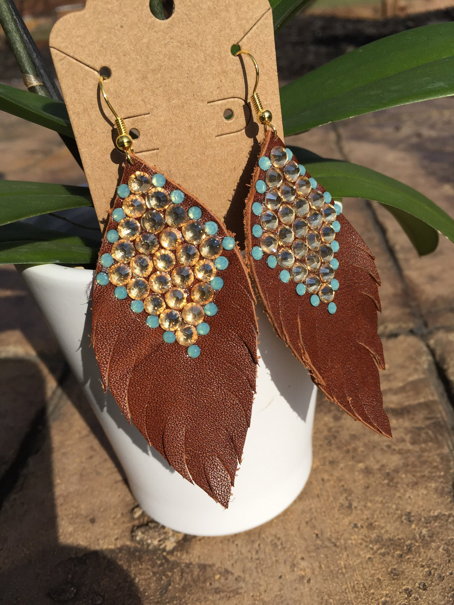 Large Western Leather Feather Earrings with Rhinestones