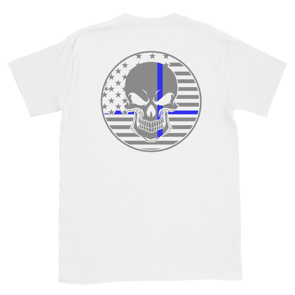 Thin Blue Line American Flag Skull Short-Sleeve Men's T-Shirt