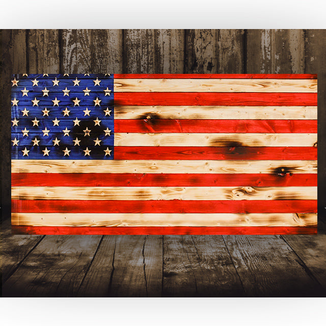 American Rustic Wooden Flag